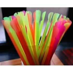 Paie jumbo colorate drepte cu lingurita (1000buc) Produse 49,00lei