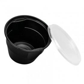 Bol supa PP, negru cu capac transparent, 680ml (450buc)