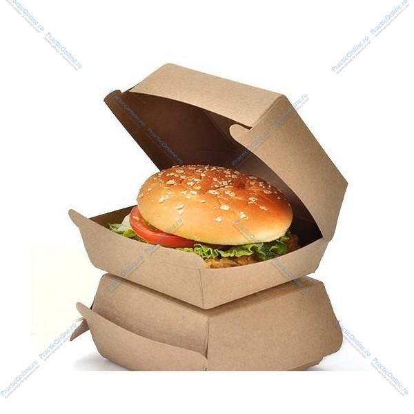 Cutii de burger, carton natur, 12x12x8cm (160buc) Produse 84,63lei