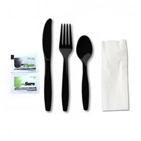 Set tris negru, lingura + furculita + cutit + servetel + sare + piper (100buc) Produse 53,31lei