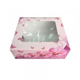Cutie mini prajituri, carton cu fereastra, design orhidee, 24.5*34.5*6.5 cm (25buc) Produse 60,33lei
